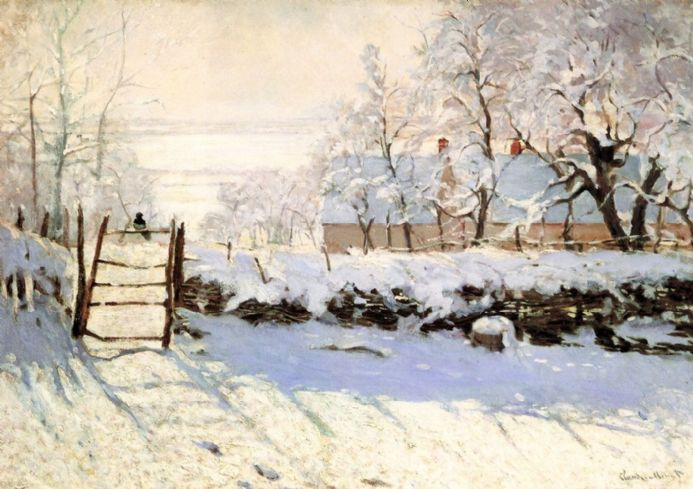 Monet, Claude: The Magpie. Fine Art Winter Scene Print/Poster. Sizes: A4/A3/A2/A1 (00241)